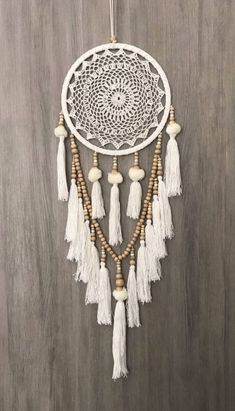 White Dreamcatcher, Crochet Dreamcatcher, Beaded Dream Catcher, Doily Dream Catcher, Wooden Bead Dreamcatcher- cm Boho Crochet Web Dream Catcher blanc/crème Pom Poms glands & perles en bois Source by christelerogez - Dream Catcher White, Large Dream Catcher, Dream Catcher Boho, Dreams Catcher, Dream Catcher Decor, Dream Catcher Bedroom, Dream Catcher Mobile, Dreamcatcher Crochet, White Dreamcatcher