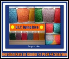 Cool info for the holidays!!! DIY Rice Dying by Herding Kats in Kindergarten @ PreK+K Sharing