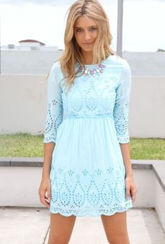 Love this lace dress--long sleeves and high neckline are modest, too!