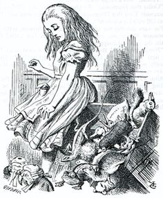 Chaos in the Courtroom Sir John Tenniel 1865 Wood-engraving by Dalziel Illustration for the twelfth chapter of Lewis Carroll's Alice in Wonderland