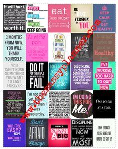 DOWNLOADABLE Weight Loss Diet Weight Watchers Motivation Inspirational Printable Stickers for Erin Condren Life Planner