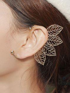 Golden Statement Ball Detail Leaf Ear Cuff