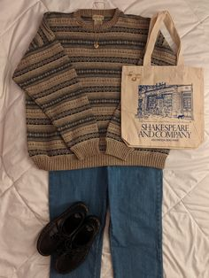 Shakespeare And Company, Lee Jeans, St John's, Platforms, Thrifting, Outfit Ideas, Reusable Tote Bags, College, Sweater