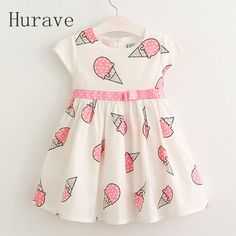 Cheap kids dresses for girls, Buy Quality dresses for girls directly from China kids dress Suppliers: Hurave Sweet Girls ice cream printed kids dress for girl 2017 cute girls spring new children princess clothes dress Baby Summer Dresses, Cute Girl Dresses, Little Girl Dresses, Dress Summer, Dress Girl, Girls Frock Design, Baby Dress Design, Frocks For Girls, Kids Frocks