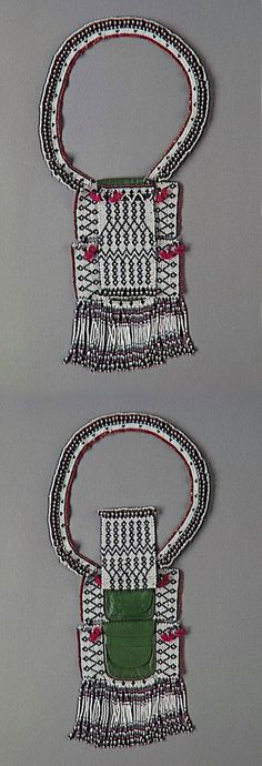 South Africa | Necklace pouch from the Nguni (Thembu, Xhosa) people. Element of the costume worn by young uninitiated men | Leather, textile, glass beads and wool