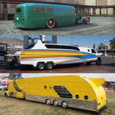 "Three more cool campers! There's your ""Boaterhome"", Nick! Custom Campers, Old Campers, Retro Campers, Cool Trucks, Big Trucks, Rv Motorhomes, Luxury Motorhomes, Mercedes Truck, Vintage Rv"