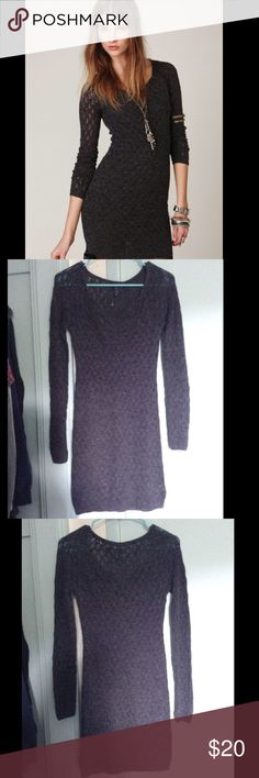 NWOT FP Grey BodyCon Sweater Dress NEW! Without Tags. Cute Free People See Through BodyCon Stretchy Charcoal Gray V Neck Lace Long Sleeved Sweater Dress with ruched bust. Missing detachable slip. Size is an extra small.  Comment if you have any questions 😊. Make me an offer! Free People Dresses Long Sleeve