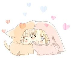 Chibi USUK in kitty and bunny costumes~! How is it SO CUTE!?! HOW??