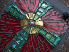 """Gold smalti, glass tile, stained glass and millefiori on slate, 6x8"""" Commission your cross: nutmegdesignsart.com/margaret-almon-mosaics/"""