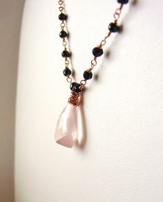 Rose Quartz Black Spinel Necklace Wrapped in Rose Gold from Resa Wilkinson Jewelry
