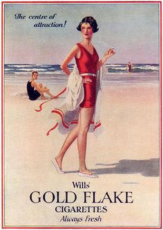 Wills Gold Flake Attraction Beach Girl Cigarettes - www.MadMenArt.com | Vintage Ads with Sex Appeal. Over 2000 vintage designs which could be said to have sex appeal. The blurred line between sex appeal and sexism. #Advertising #Vintage #Ads #VintageAds #SexAppeal