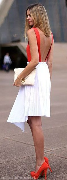 Red is so tricky on blondes. The white tones it down & makes it daytime appropriate. Shoes are too much though.