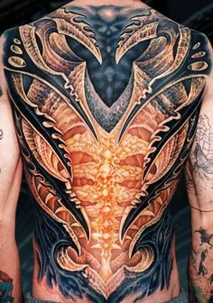 Ornate full #back #tattoo. Love the color choices!