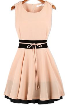 Ruffle Belt Chiffon Dress