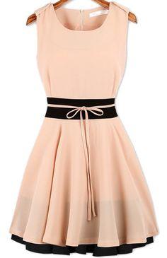 Pink Sleeveless Ruffle Belt Chiffon Dress