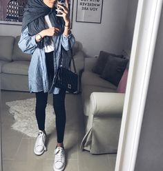New style vestimentaire moderne 58 Ideas Modern Hijab Fashion, Street Hijab Fashion, Hijab Fashion Inspiration, Muslim Fashion, Casual Hijab Outfit, Ootd Hijab, Casual Outfits, Mode Outfits, Outfits For Teens