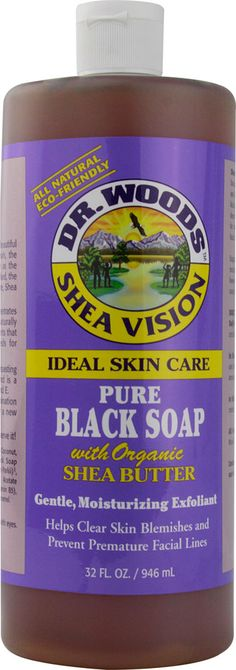 Dr. Woods Shea Vision Pure Black Soap with Organic Shea Butter |  An all-purpose facial and body care cleanser from pure black soap Gently exfoliates, moisturizes and conditions skin Made with rich, organic shea butter to improve elasticity Vitamin E and botanical extracts help keep skin balanced Ideal for clearing blemishes and preventing premature facial lines All-natural and eco-friendly formula for all skin types
