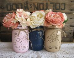 Shabby Chic Flower VasesHand Painted Flower por RusticGlamDesigns