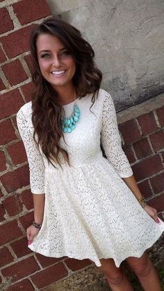 white #dress with #turquoise <3