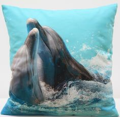 Poszewki z delfinami w kolorze błękitnym