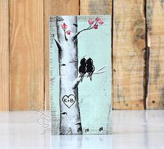 Rustic Wood Signs Reclaimed Wood Art Love Bird Painting Birch Aspen Tree Painting Wood 5th Anniversary Gift Custom Wedding Gift for Couple  9