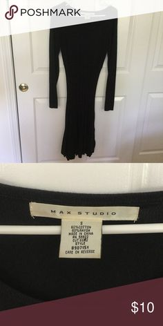 Max Studio form fitting light weight sweater dress Flares at bottom. Black, size small Max Studio Dresses Long Sleeve
