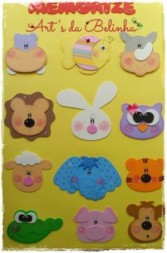 Animales caritas Foam Crafts, Preschool Crafts, Diy And Crafts, Crafts For Kids, Arts And Crafts, Paper Crafts, Summer Camp Crafts, Camping Crafts, Sewing Crafts