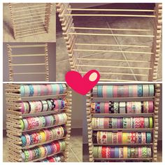 Washi storage created by Keely Johnson...clothespins, skewers, & hot glue gun!
