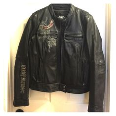 Harley Davidson Leather Jacket Perfect condition HD womens jacket. Has a zip in/out liner, zipper vent armpits, interior pocket, 4 front pockets. Very comfortable for driving or riding as a passenger. Paid $425 brand new. Sold my bike and now it just hangs in the closet. Would love to see a fellow rider show this jacket some love!! All the stitching is in tact, not scratches, holes or frays. Never worn in the rain. This Jacket is EUC and pretty much brand new!! You will definitely get your…