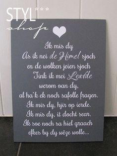 Tekstbord Ik mis dy - Styl*Shop - Mooie (Fryske) woonaccessoires en (Friese) tekstborden vind je bij Styl*Shop - jouw online webwinkel!