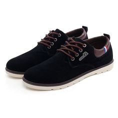 Casual Shoes Men Outdoor Fashion Lace Up Round Toe Leather Flat Oxfords - US$29.86