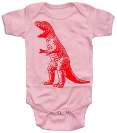 Baby Dinosaur Onesie girl pink by happyfamily on Etsy