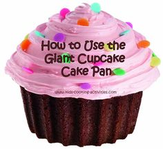 using a giant cupcake cake pan How to make a giant cupcake cake. Ideas for decorating with photos. Large Cupcake Cakes, Cupcake Smash Cakes, Big Cupcake, Cupcake Mold, Giant Cake, Giant Cupcakes, Ladybug Cupcakes, Kitty Cupcakes, Snowman Cupcakes