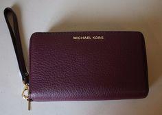 d6a74c17e124 Michael Michael Kors Adele Double Zip Wallet Wristlet Phone Plum Leather  Large