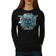 Chinese Samurai Mask Women NEW L Long Sleeve Tshirt  Wellcoda * Details can be found by clicking on the image.