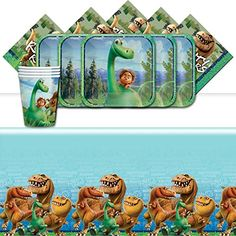 The Good Dinosaur Official Disney Pixar Complete Parties Supplies Kit for 16 Plates Cups Napkins Table Cover Dinosaur Party Supplies, Dinosaur Party Favors, First Birthday Cakes, 2nd Birthday, Game Prizes, The Good Dinosaur, Disney Pixar Cars, Party Needs, Party Packs