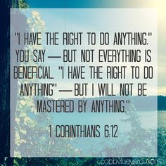 1 Corinthians 6:12 #Scripture #CobbVineyardChurch #Bible #Truth #Scripture #NewTestament #Lake #Kennesaw #Acworth #cobbcounty #Georgia #Creation www.cobbvineyard.com