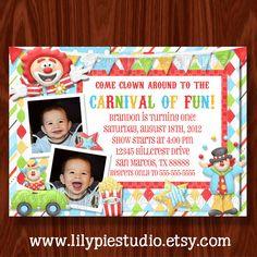 NEW - Carnival Circus Clown Birthday Invitation printable digital file