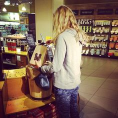 Great for hands free shopping - in this case fair trade, organic coffee... Wish I could post the amazing smell