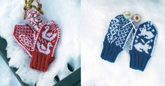 Barnevotter - strikkeoppskrift Diy Crafts Knitting, Knitting For Kids, Aurora, Baby Barn, Mittens Pattern, Mitten Gloves, Ravelry, Free Pattern, Diy And Crafts
