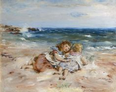 """By Summer Seas"" -- William McTaggart - Scottish) Gallery Of Modern Art, National Portrait Gallery, Sea Art, Impressionist Paintings, Art Uk, Traditional Art, Oil On Canvas, Art For Kids, Old Things"
