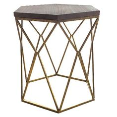 Chester End Table Gold Metal Hexagon - Threshold™ : Target- other side of sofa in living room?