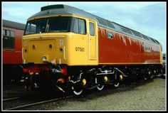 """The former D1614/ 47034/ 47561 was renumbered to 97561 in Sept 1988 and named """"Midland Counties 150 1839-1989"""" at Derby on May 23rd 1989. The 97 classification denoted a departmental loco. In July 1989, she was renumbered to 47973 and received the new name of """"Derby Evening Telegraph"""" in September 1990. The pristine loco is pictured here whilst on display at the 1989 Coalville Open Day. Withdrawn as 47973 in August 1996, she was cut up in Mar 1997 at Crewe Works by MRJ Phillips. RIP."""
