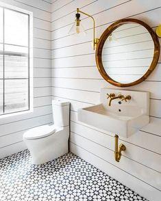 Cement Tile - Pattern: Estrella Black black/white floor w brass hardware Cement Tiles Bathroom, Farmhouse Bathroom Mirrors, Bathroom Mirror Design, White Bathroom Tiles, Bathroom Tile Designs, Bathroom Interior Design, Bathroom Flooring, Modern Bathroom, Small Bathroom
