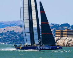 #Artemis foiling down #SanFrancisco Bay past #Alcatraz during the #LouisVuitton Cup Series by #StevesPhotosandCards on #Etsy #BAPATeam