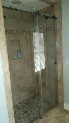 Slider shower custom bathroom upgrade #brittandtilson #asheville