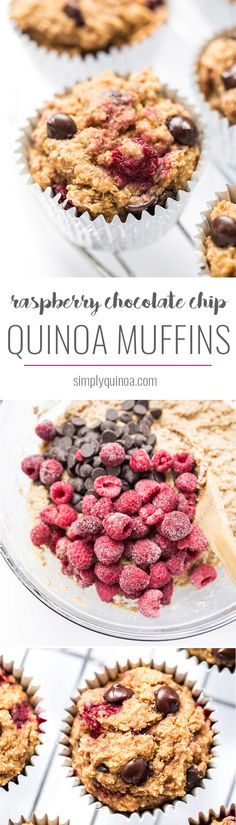 Healthy Raspberry Chocolate Chip Quinoa Muffins - sweetened naturally, made without any oils, AND they're gluten-free + vegan