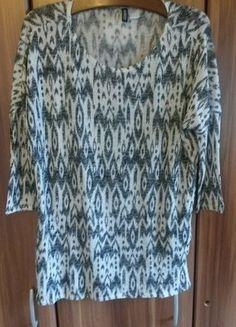 1b8aa81ad4eac9 Schwarz/Weiß Ethno gemustertes Long Shirt mit 3/4 Ärmeln