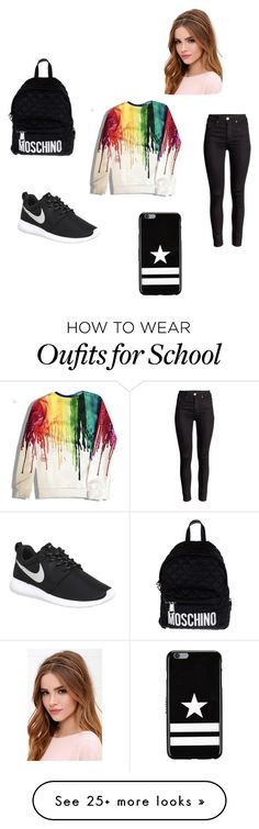 """""""Ugh! School"""" by fashionglamour429 on Polyvore featuring Moschino, NIKE, Lulu*s, Givenchy, women's clothing, women, female, woman, misses and juniors"""