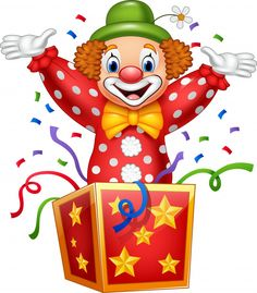 Photo about Illustration of Cartoon clown jumping out of the box. Illustration of holiday, greeting, cartoon - 89034191 Clown Crafts, Circus Crafts, Balloon Background, Birthday Background, First Birthday Cards, Birthday Greeting Cards, Art Drawings For Kids, Drawing For Kids, Clown Images